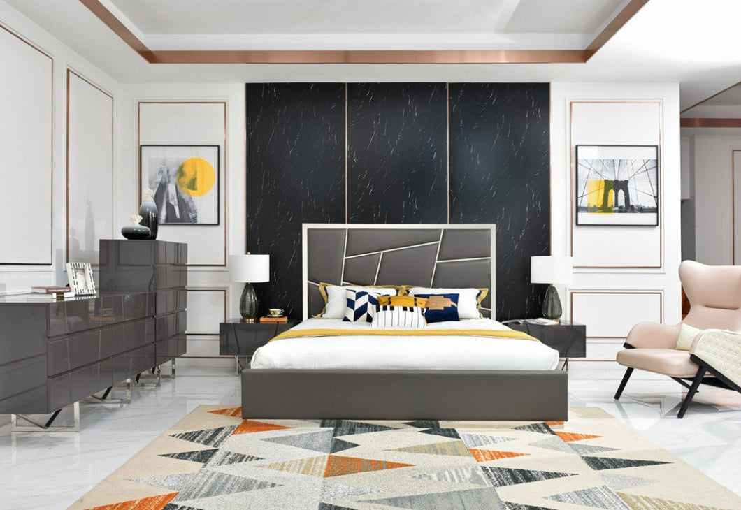 Modern Grey Eastern King Bedroom Set