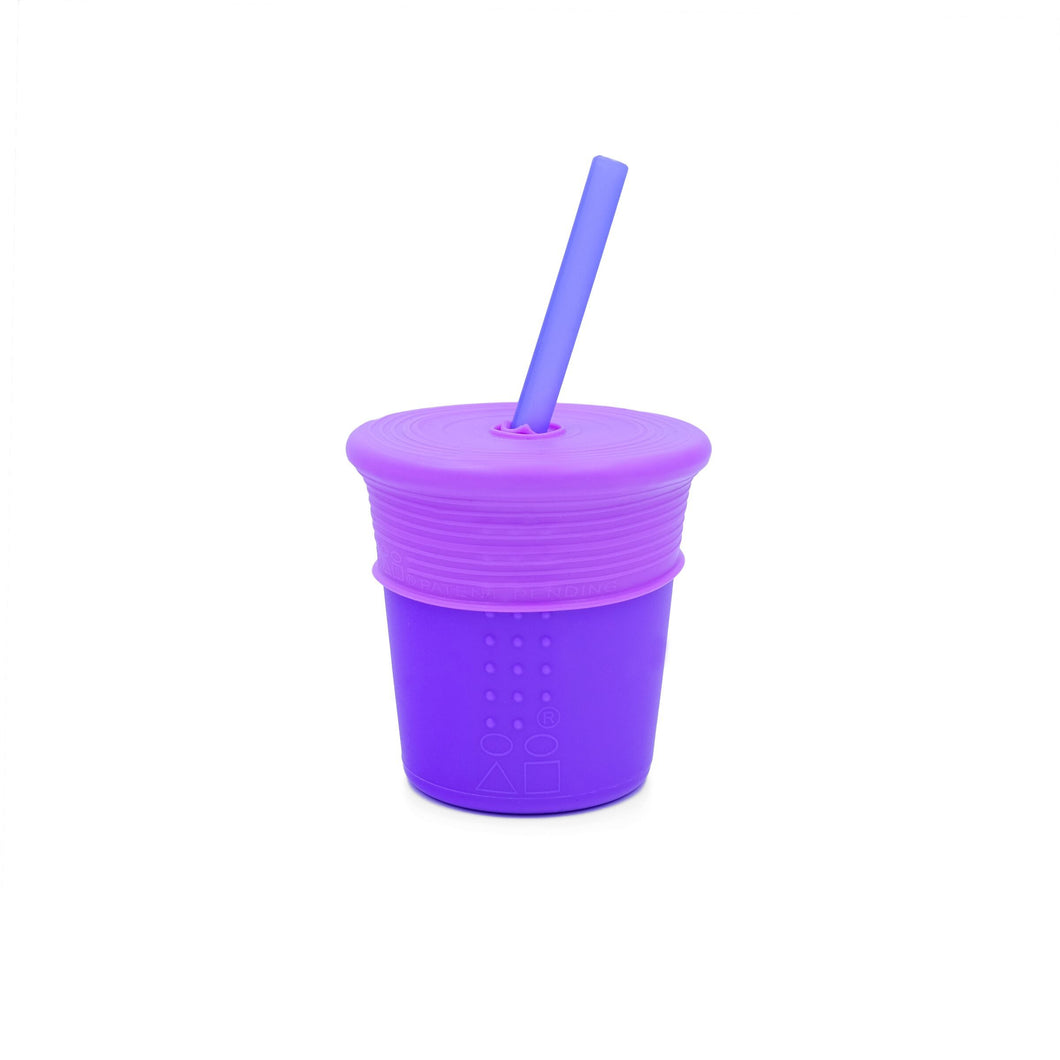 8oz Silicone Straw Top Purple