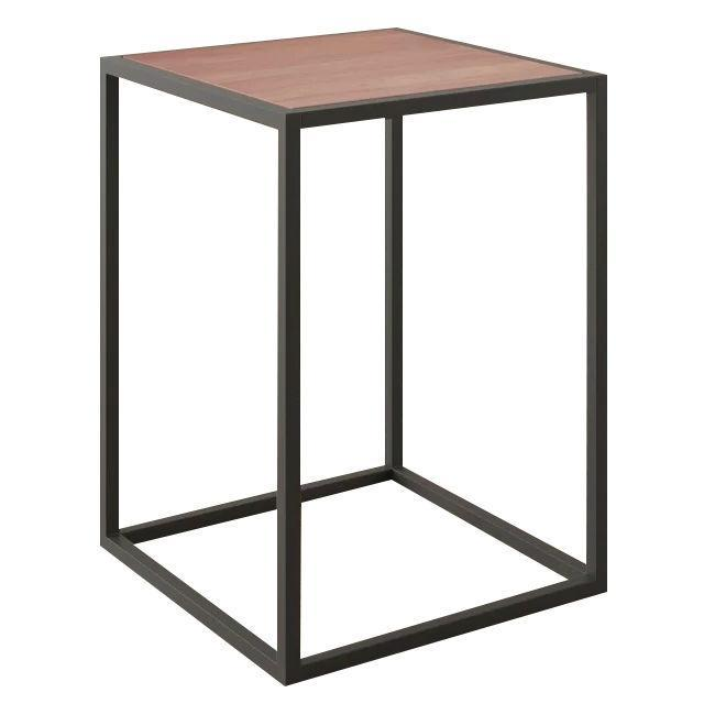 Modern Wood Top Black Metal Frame End Table Nightstand