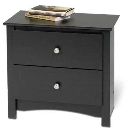 Black Two Drawer Bedroom Nightstand with Brushed Nickle Knobs