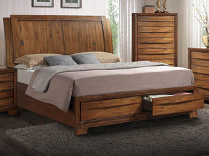 "Sonoma Collection 87"" Storage Queen Bed with Double Sleigh Headboard and 2 Drawers in Warm Chestnut"