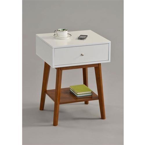 Mid Century Modern Style Nightstand End Table in White & Oak Wood Finish