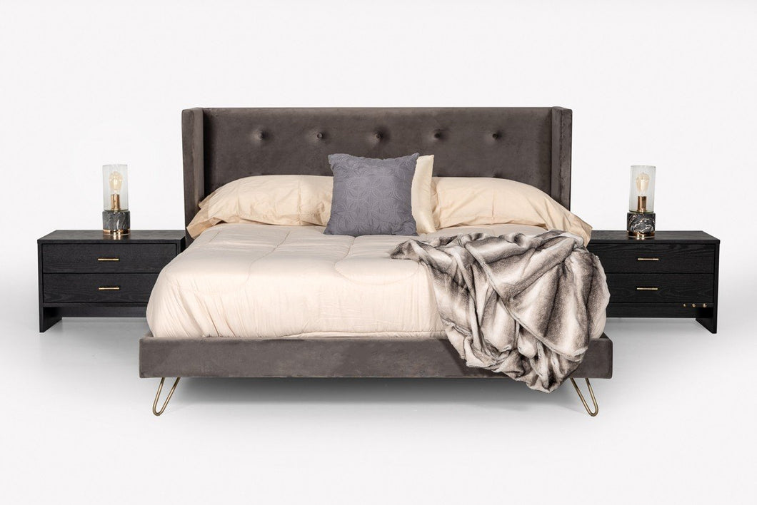 Modrest Bryan Modern Grey Velvet & Gold Bed
