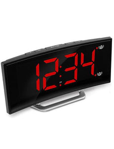 Marathon Curved Display LED Clock with Dual Alarm and 1 USB Charging Port – Black