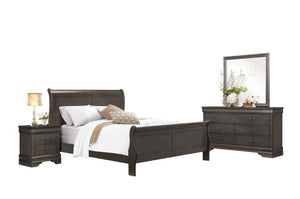 2147TSG-1 4P Louis Phillippe Grey Wood Kid Twin Sleigh Bed Bedroom Set