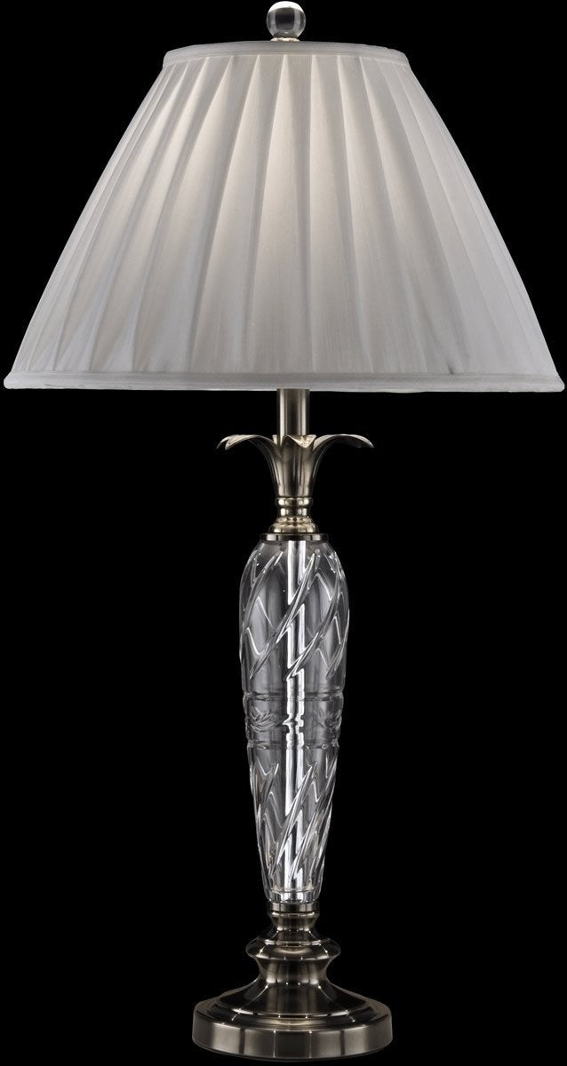 0-004844>Cutler Bay Crystal Table Lamp Antique Nickel