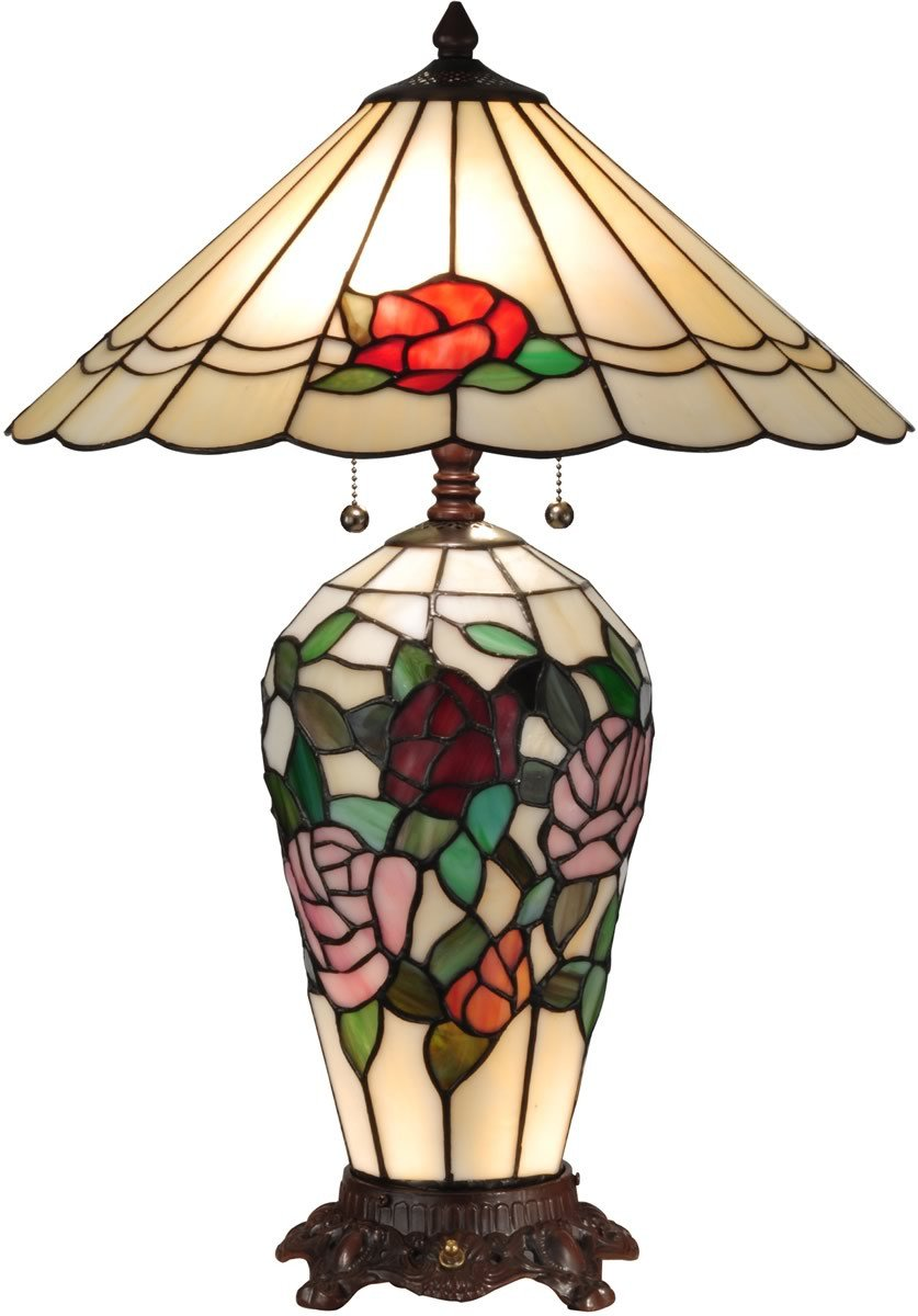 0-004074>Rose Lighted Tiffany Table Lamp Antique Bronze