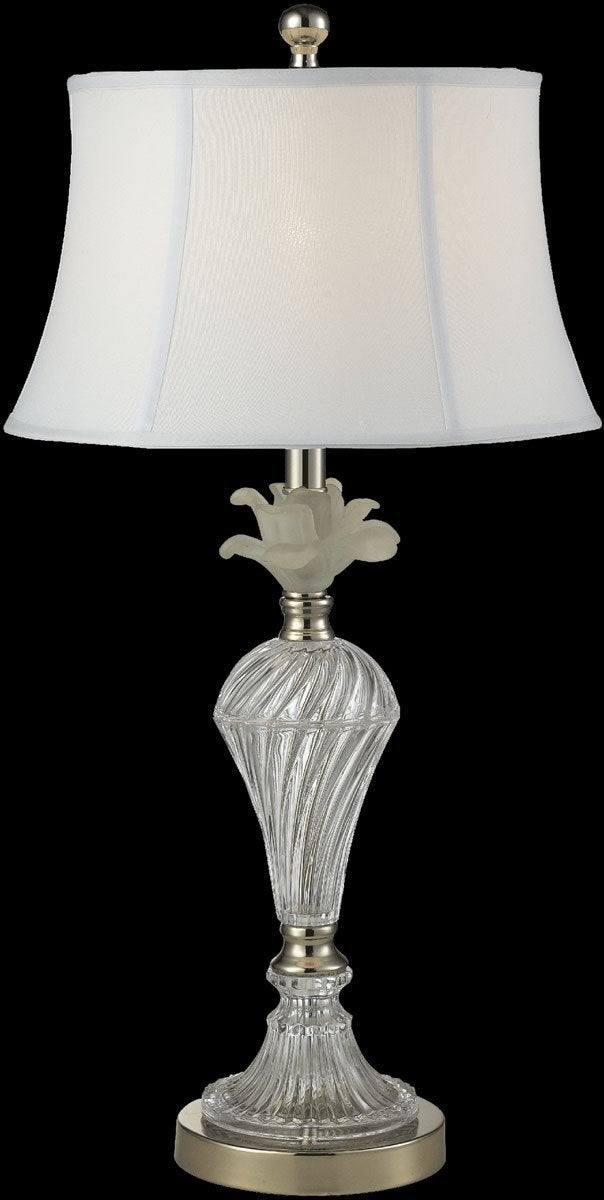 0-004543>Snowflake Crystal Table Lamp Polished Nickel