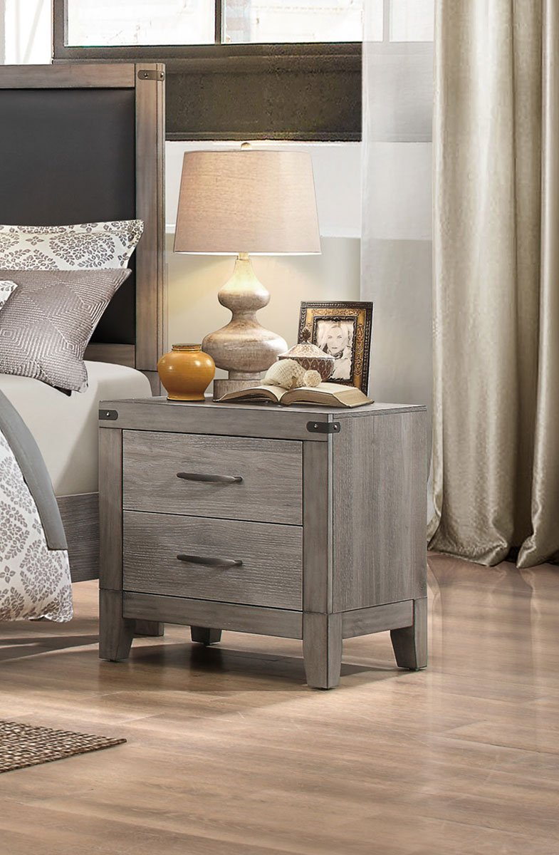 2 Drawer Wooden Night Stand With Metal Handle, Weathered Gray