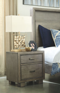 Arnett Gray Two Drawer Night Stand