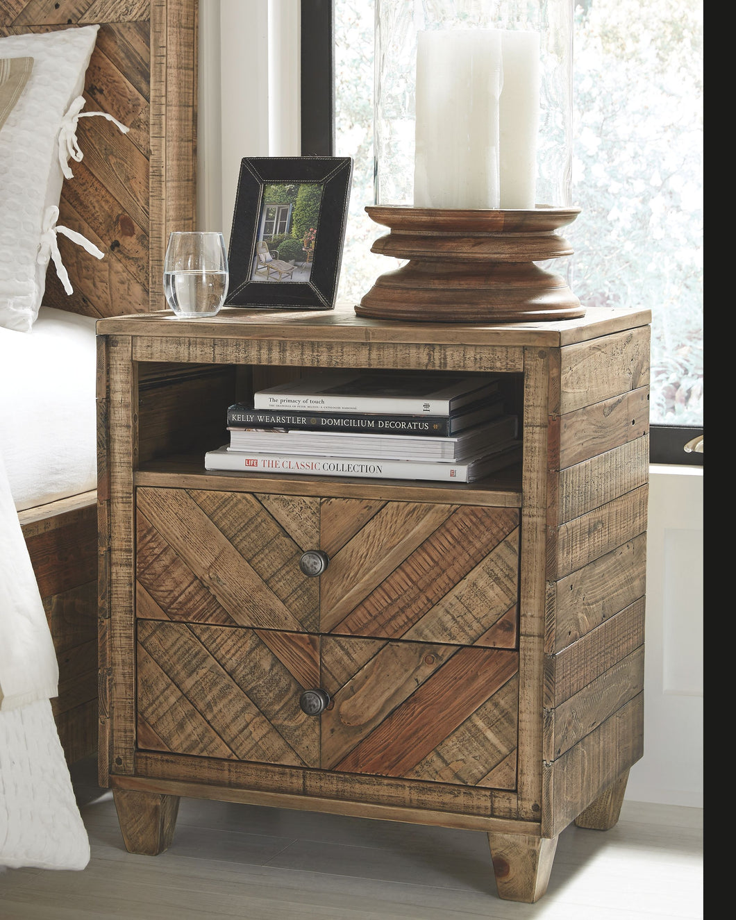 Grindleburg Light Brown Two Drawer Night Stand