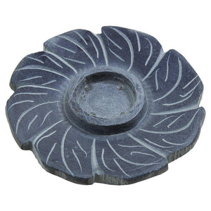 Incense Stick Holder Burner Hand Carved Grey Floral