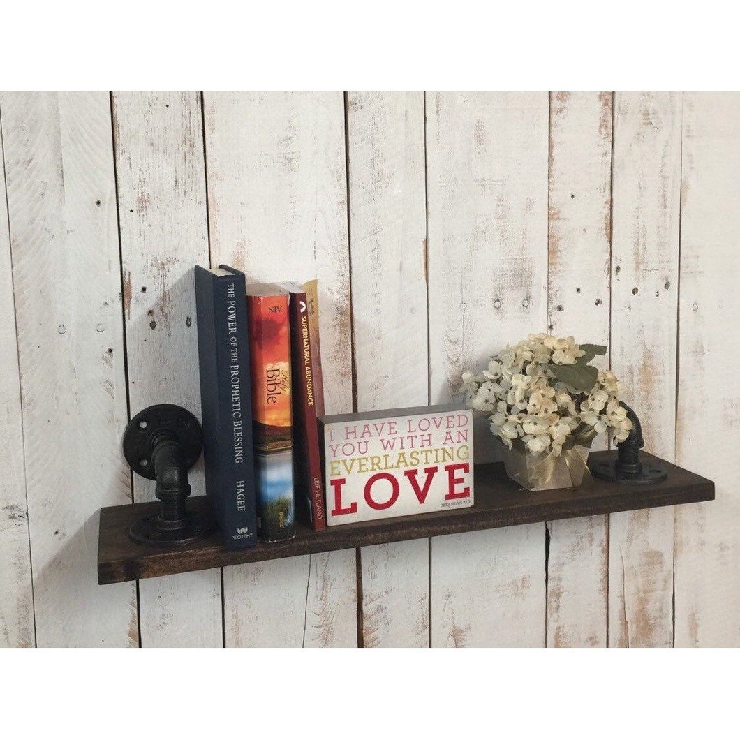 Wood Book Shelf- Rustic Industrial Decor