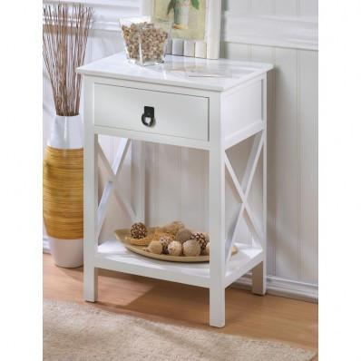 Hampton White Wooden Side Table Nightstand 15214