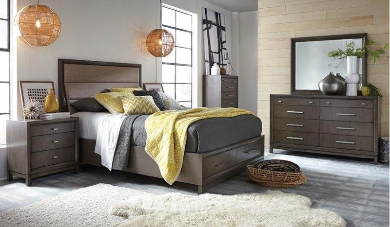 6pc Queen Bedroom Set Gray/ Storage - Empire Furniture Home Decor & Gift