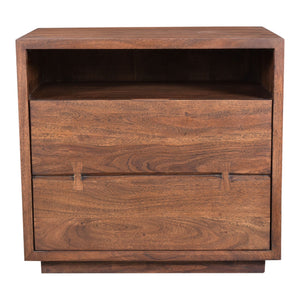 Moe's Madagasikara Nightstand With Natural Wood Grain And Warm Brown Finish