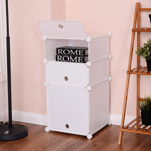 3 Cubic Storage Cabinet Bedroom Organizer Shelf Clothes Closet Bedroom Modern Nightstand White Home