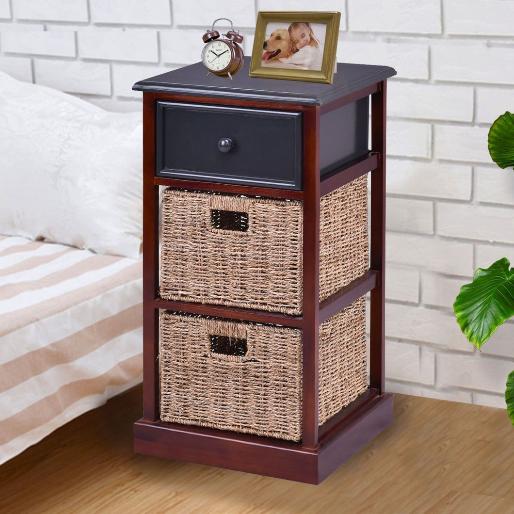 3 Tiers Wood Nightstand With 1 Drawer 2 Baskets Modern Bedside End Table Organizer Brown Bedroom