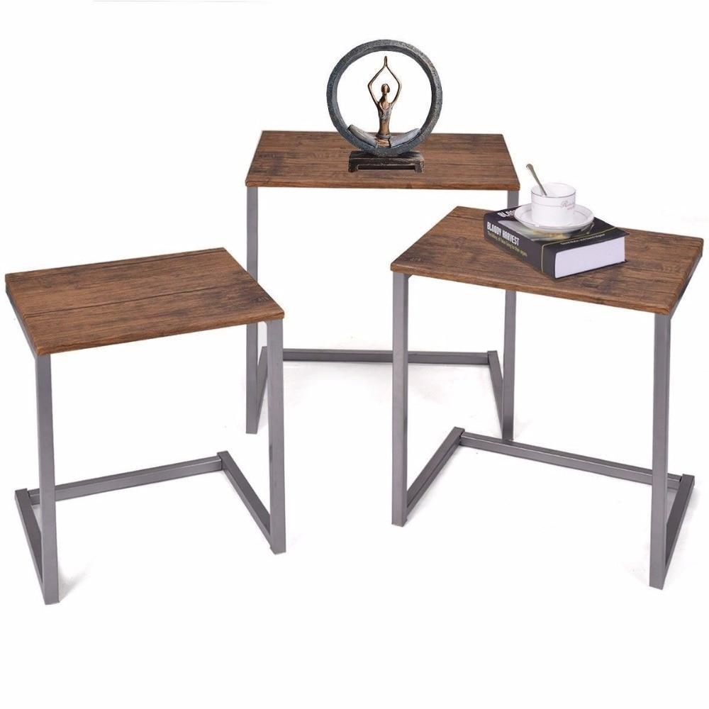 3Pcs Steel Stacking Nesting Coffee End Table Desk Set Nightstand Home Furniture Hw52229