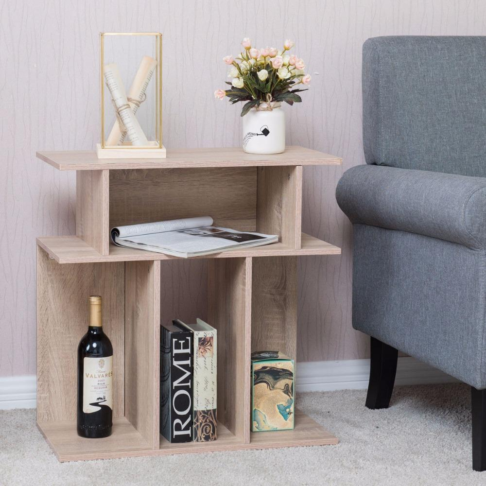 Modern Shelving Wood End Table