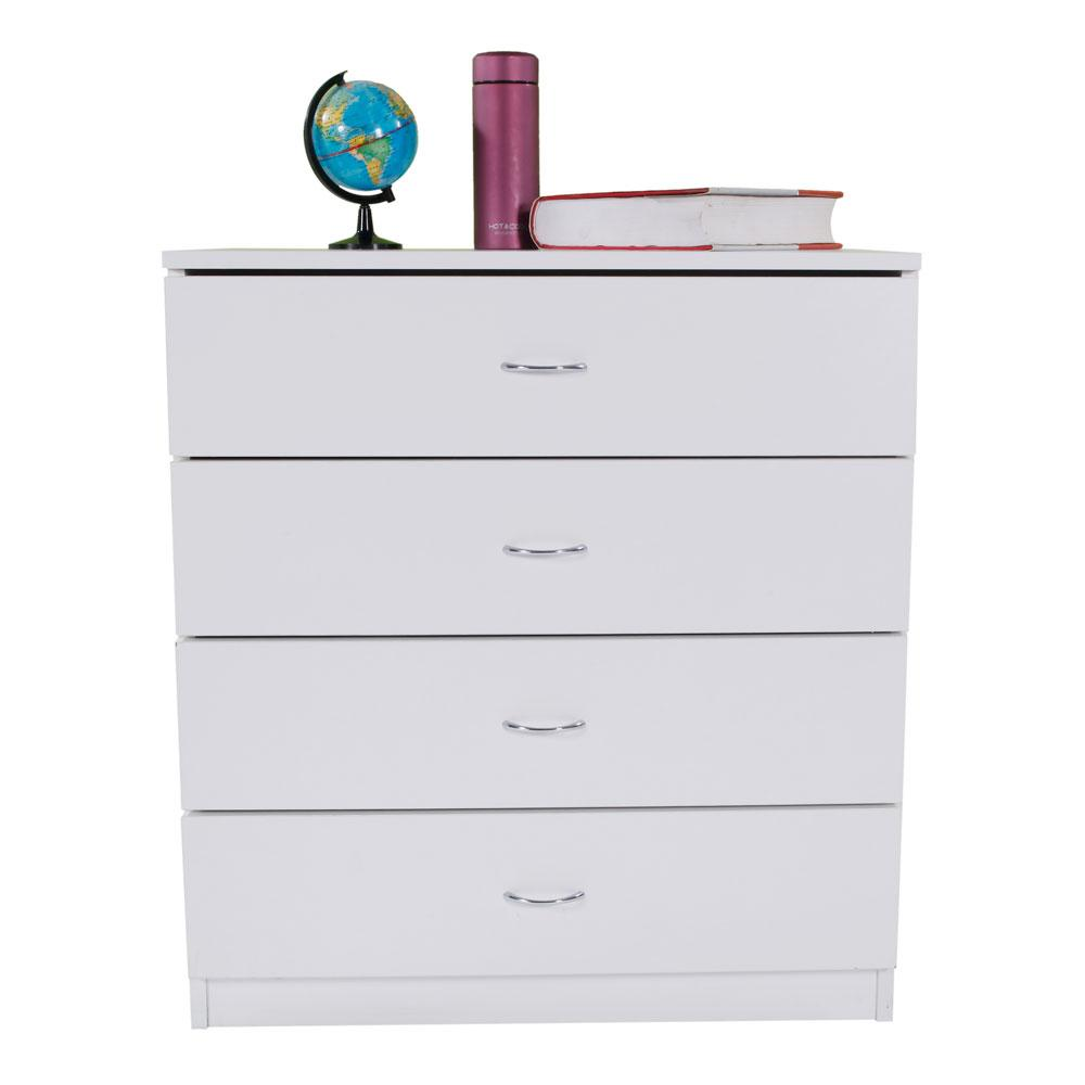 White Simple MDF 4-Drawer Dresser Table