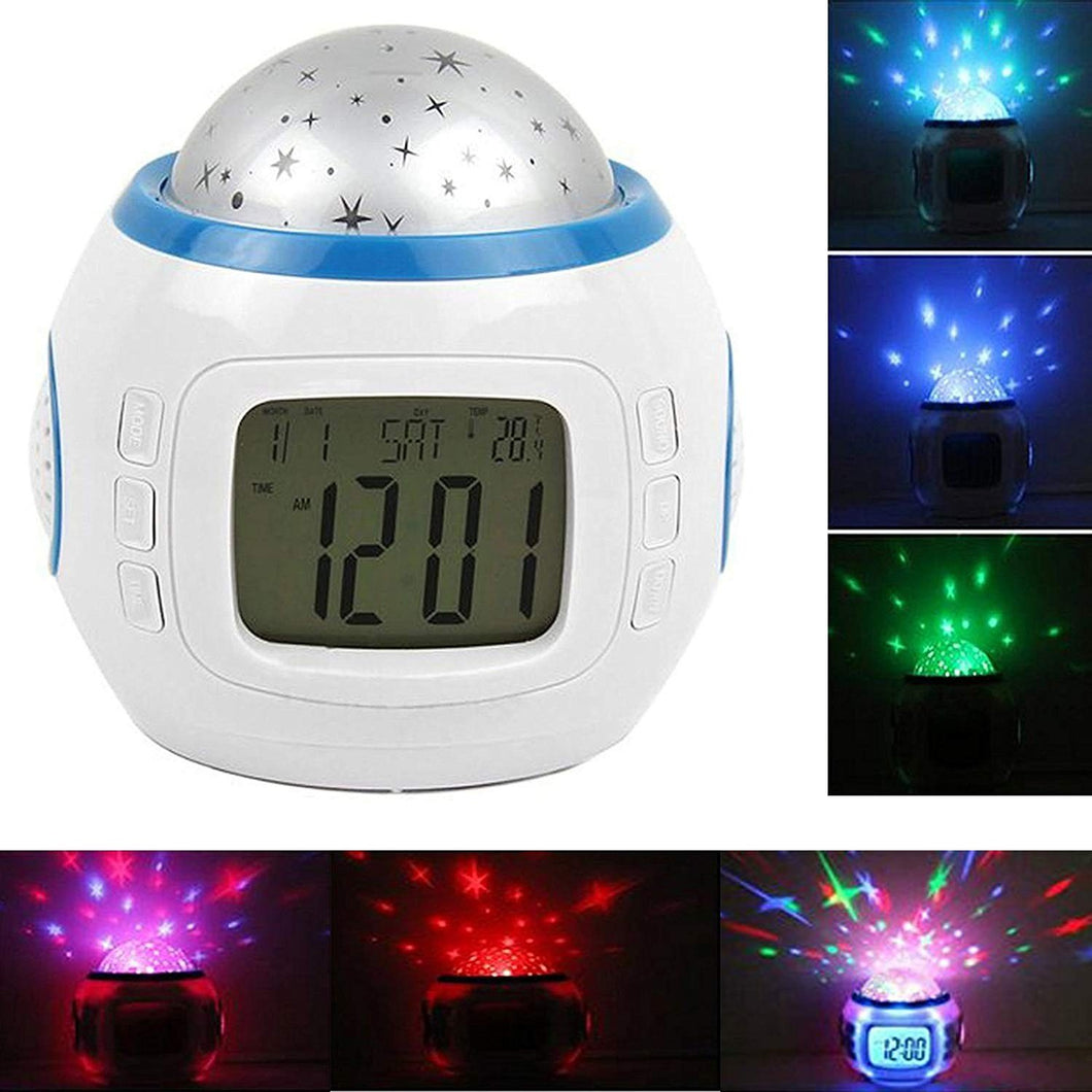 Alarm Clock Children Sleep Clock Color Change Starry Night Sky Star Projection Music Digital Clock with Backlight Led Night Light Calendar Thermometer for Children Kids Baby Boys Girls Bedroom