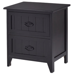 2 Drawers Storage Wood End Side Nightstand-Black