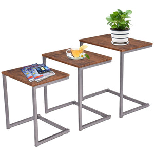 3 pcs Steel Stacking Nesting Coffee End Tables