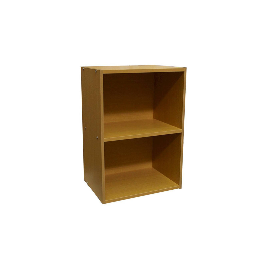 2 Level Bookshelf Tan Wood Ore International