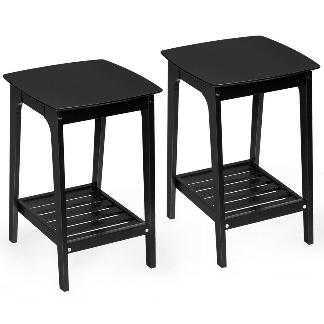 Set of 2 Side End Tables with Lower Storage Shelf-Black