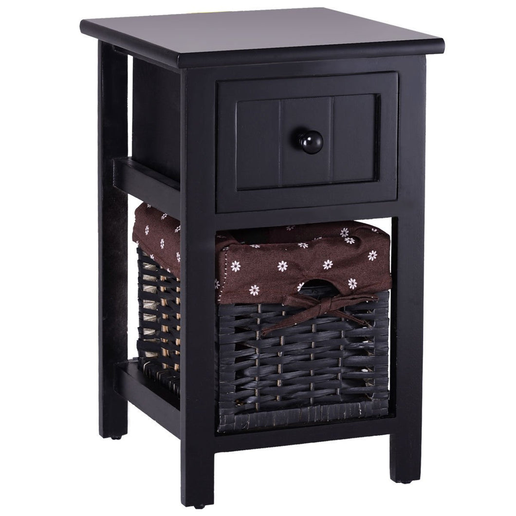 2 Tier 1 Drawer Bedside Organizer Wood Nightstand w/ Basket-Black