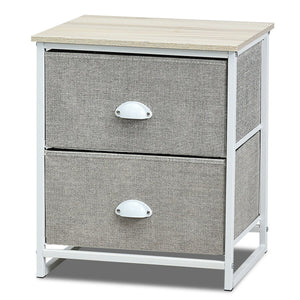 Metal Frame Nightstand Side Table Storage with 2 Drawers-Gray