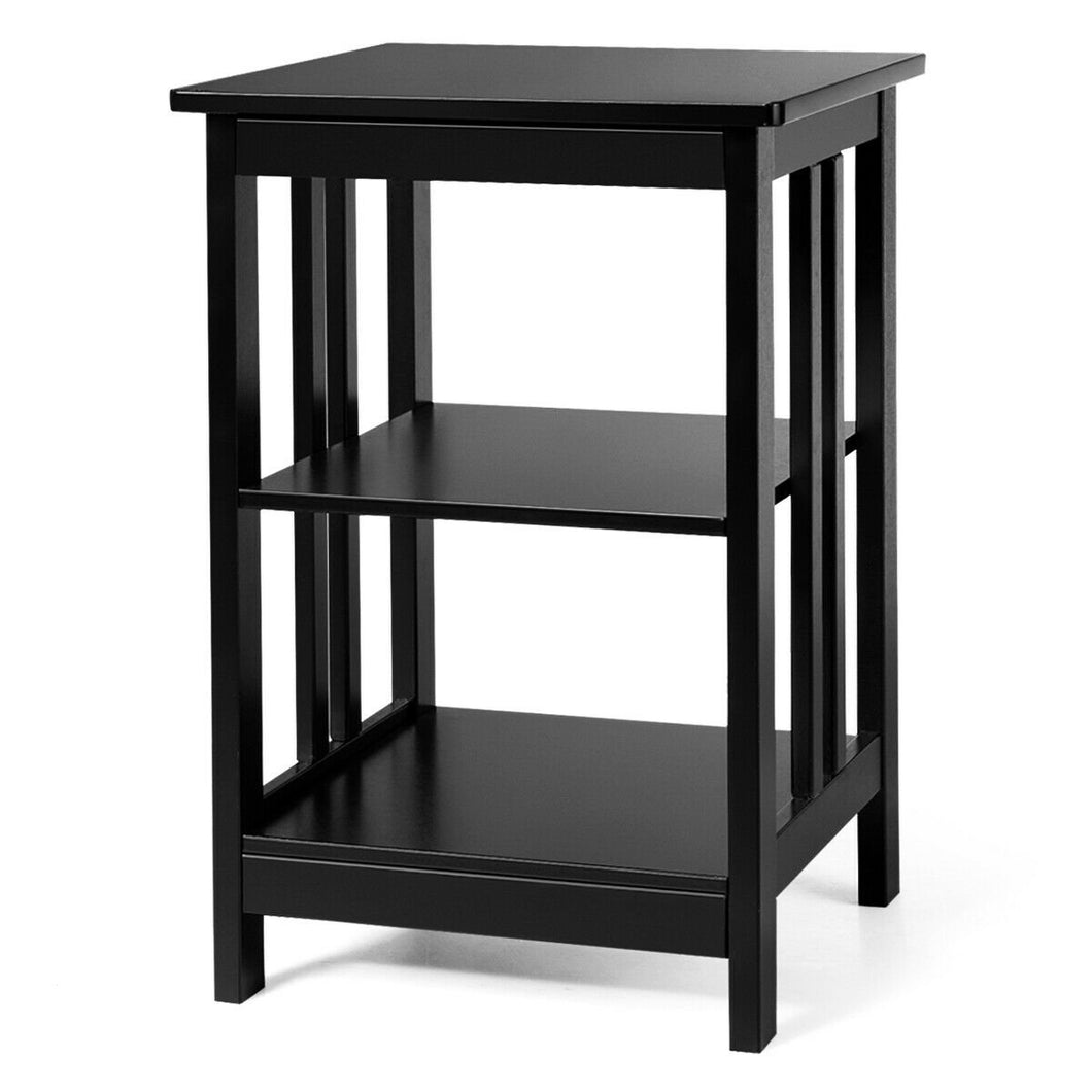 3-Tier Nightstand Side Table with Baffles and Corners-Black