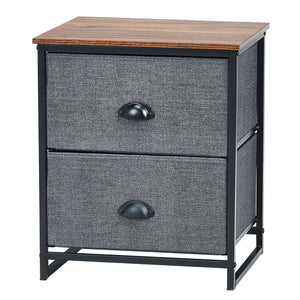 Metal Frame Nightstand Side Table Storage with 2 Drawers-Black