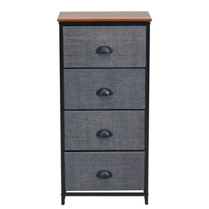 Chest Storage Tower Side Table Display Storage with 4 Drawers-Black