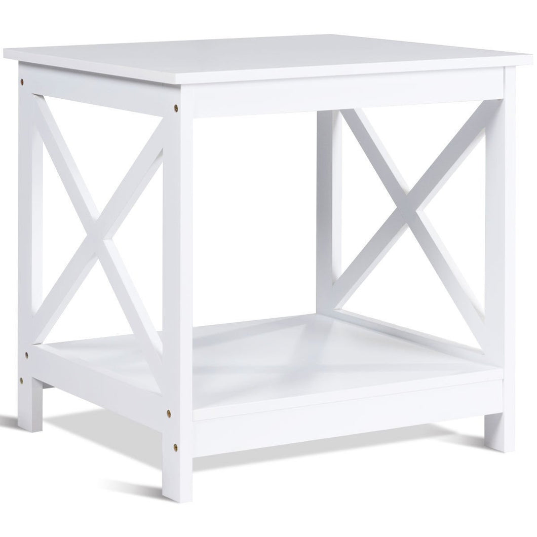 X-Design Display Accent Sofa Side Nightstand Table-White