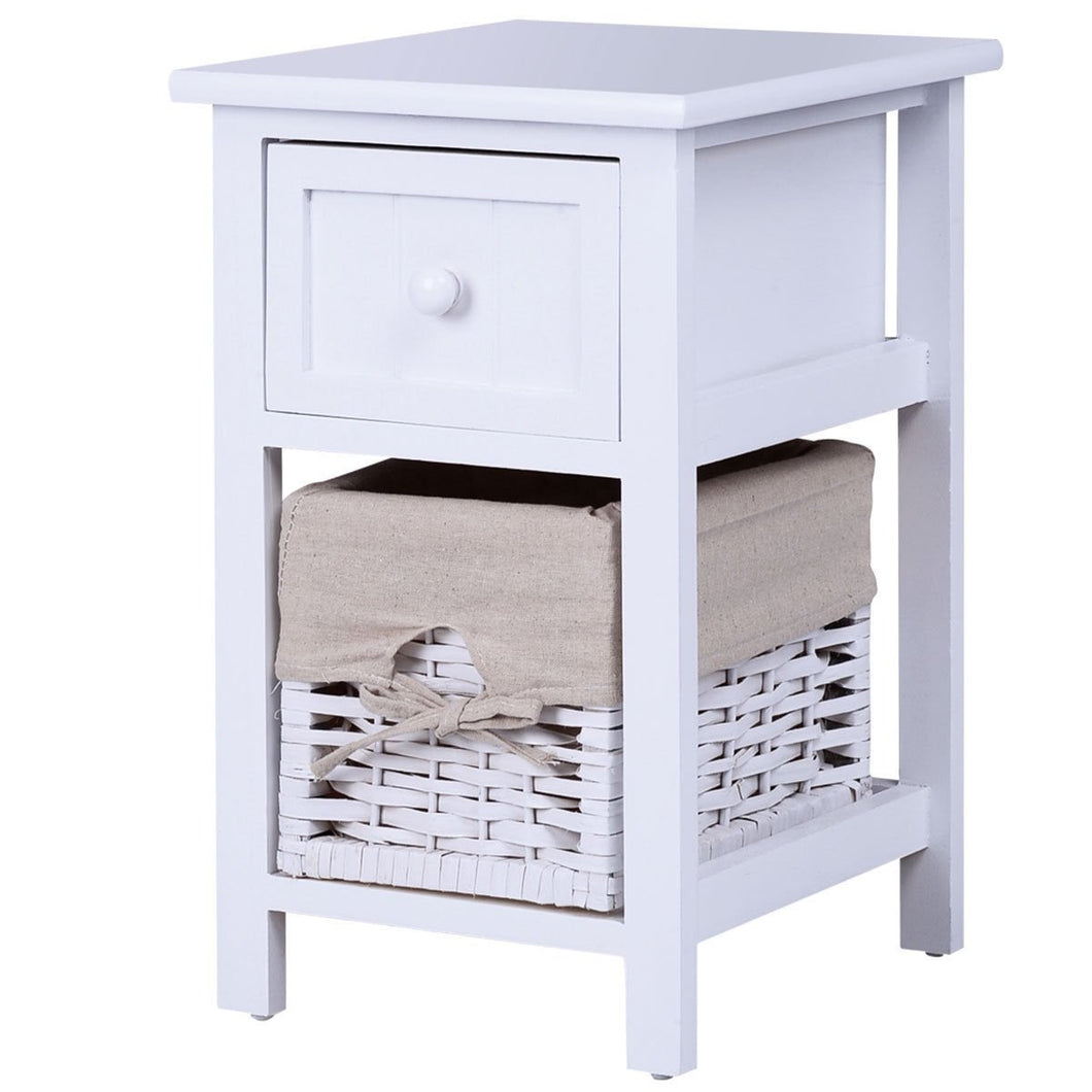 2 Tier 1 Drawer Bedside Organizer Wood Nightstand w/ Basket-White