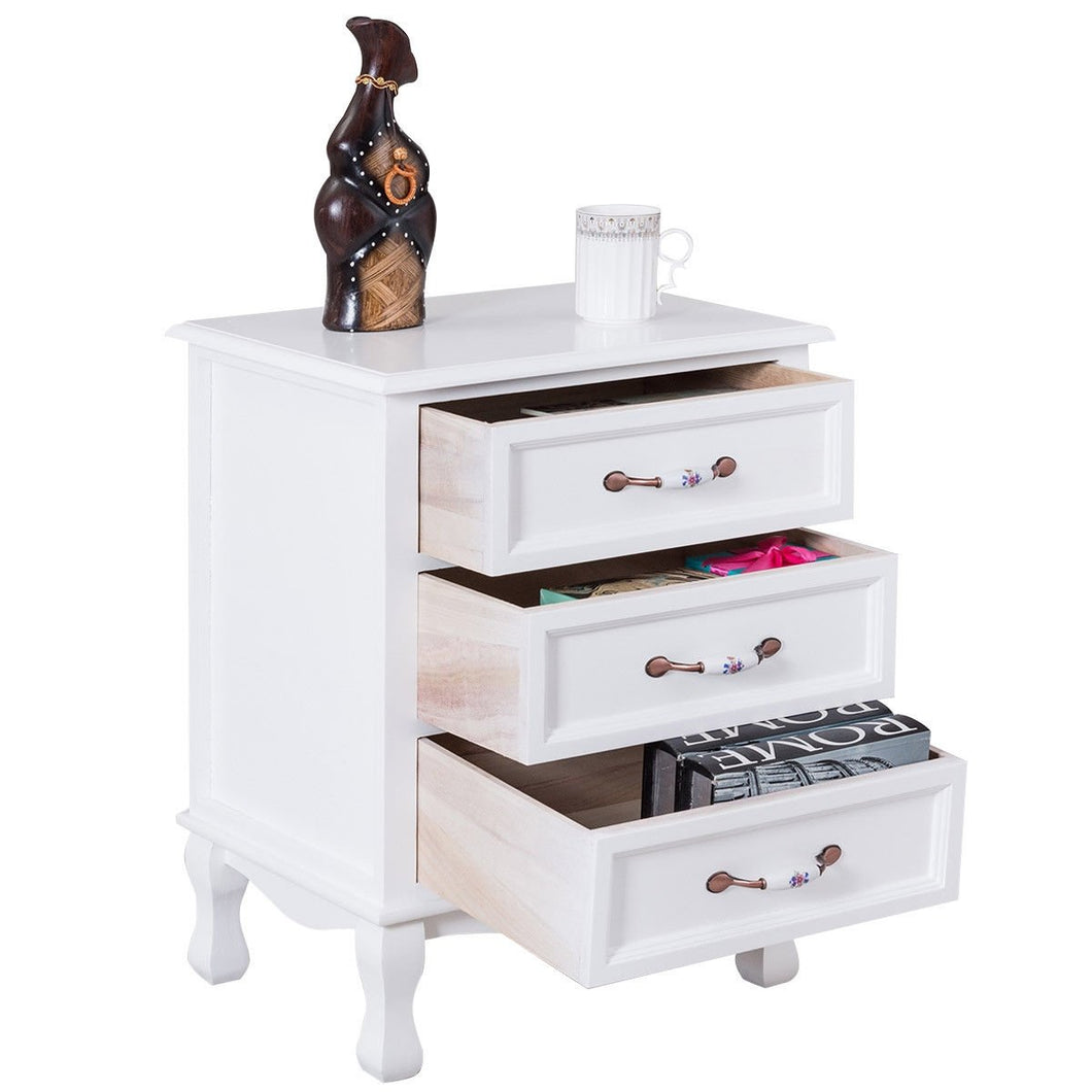 Storage Solid Wood End Nightstand w/ 3 Drawers -White