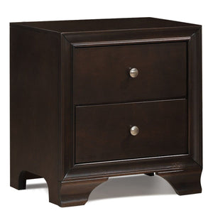 2 Drawer Storage Sofa Side Nightstand with USB Port-Brown