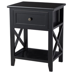 Storage End Bedside Drawer Nightstand w/ Bottom Shelf-Black