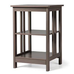 3-Tier Nightstand Side Table with Baffles and Corners-Coffee
