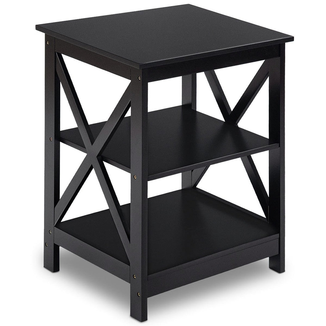 3-Tier Living Room Display Storage Shelf Nightstand-Black