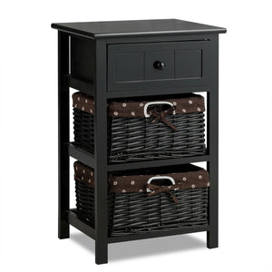 3 Layer 1 Drawer Nightstand End Table with 2 Baskets-Black
