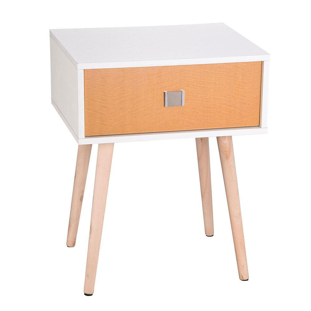 Yescom Nightstand Bedside Table 1 Drawer Wood+MDF White