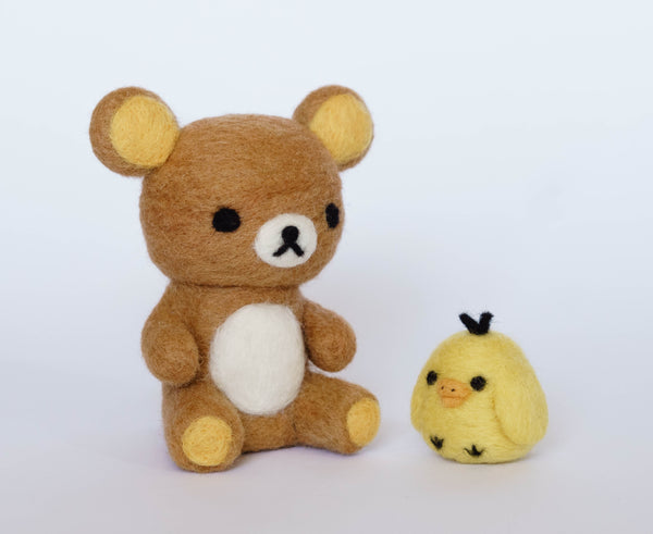 Needle felting Rilakkuma and Kiiroitori