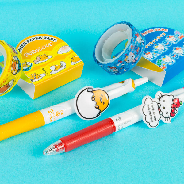 Gudetama and Hello Kitty ballpoint pens and decorative tape
