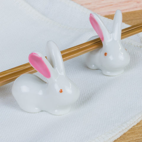 Rabbit Chopstick Rests - Pink Ears - Marimo Marshmallow Store