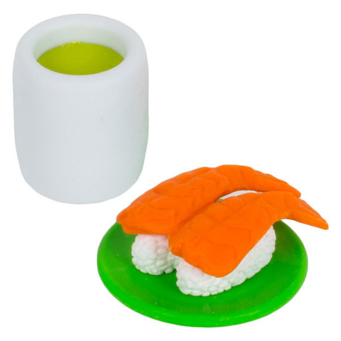 Shrimp Sushi and Matcha Eraser