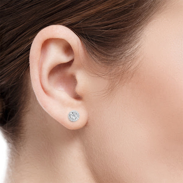 Argyle White Diamond Earrings on Ear