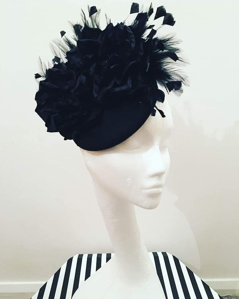 Black Felt Headpiece/ Fascinator
